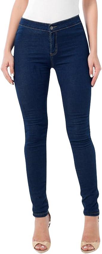 Zhuikun Vaqueros Skinny Mujer Cintura Alta Pantalones Jeans Leggings Push Up Mezclilla Pantalones Azul Oscuro 3xl Amazon Es Ropa Y Accesorios