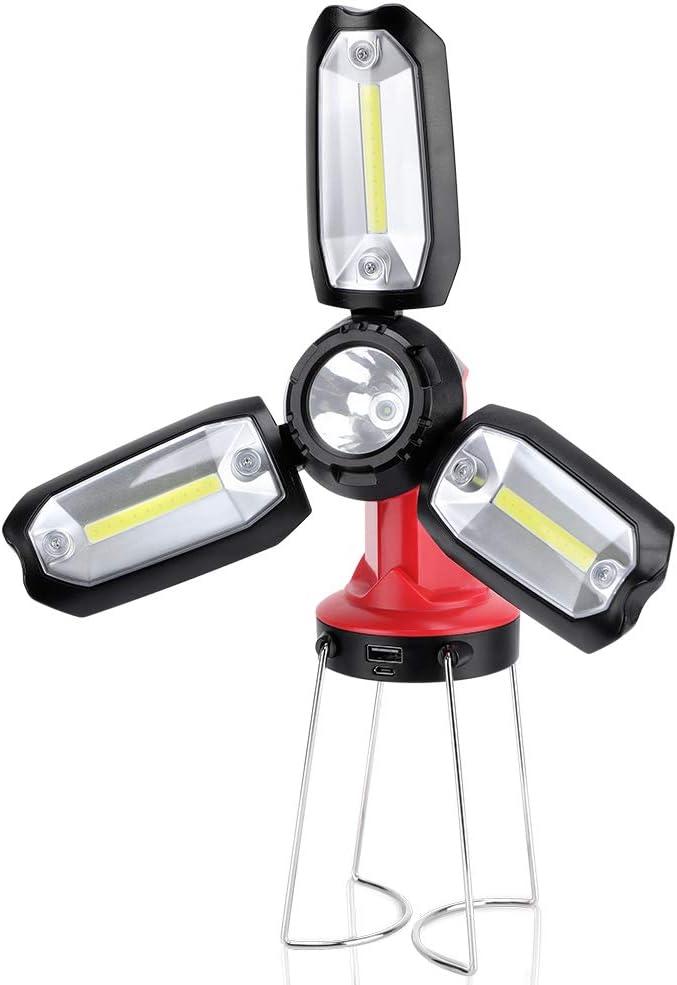 Linterna LED Recargable, Super Brillante Linterna Táctica con 8 Modos, Impermeable, Power Bank, 300lm, Lámpara de Trabajo Plegable Portátil COB para ...