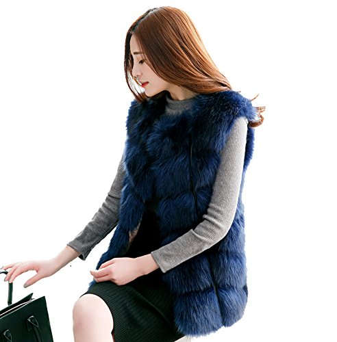 Blue Fox Fur Coat Jacket (D-cool Women's Gilet Outwear Long Slim Vest Faux Fox Fur Waistcoat Jacket (4XL/US18, BLUE))
