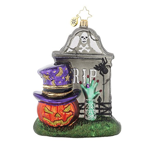 RADKO FRIGHTENING ENCOUNTER Tombstone Glass Ornament Halloween -