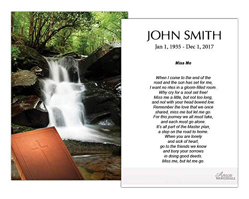Funeral Memorial Prayer Cards (50 Cards) FPC1022EN Waterfall (Custom Printed - Select Desired Prayer) ()