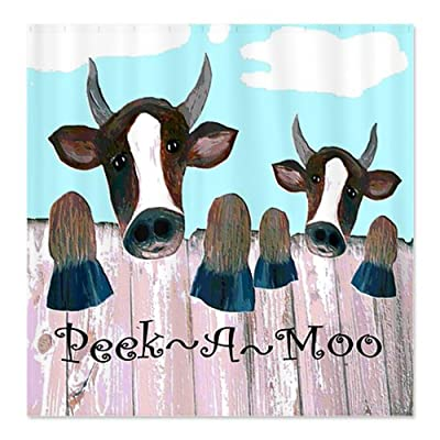 CafePress Peek A Moo Fence Cow Shower Curtain