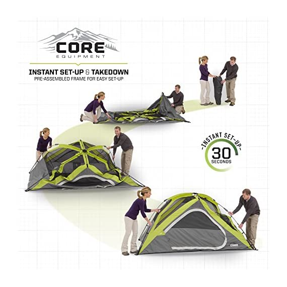 CORE Equipment 4 Person Instant Dome Tent - 9' x 7', Green 4 Instant 30 second setup; sleeps 4 people; fits one queen air mattress; center height: 54 Core H20 block technology and adjustable ground vent Features gear loft with lantern hook and pockets to keep items organized and off the tent floor