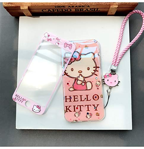 1 piece For iPhone 8 plus Case + Tempered Glass hello kitty Screen film for iPhone X 7 plus 6S 6 Blu-ray tpu Cover +starp +home sticker