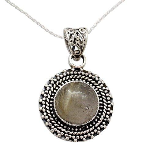 NOVICA Rutilated Quartz .925 Sterling Silver Pendant Necklace, 17.75