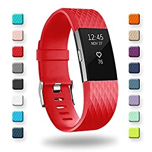 POY For Fitbit Charge 2 Bands, Classic & Special Edition Replacement bands for Fitbit Charge 2, Red Small