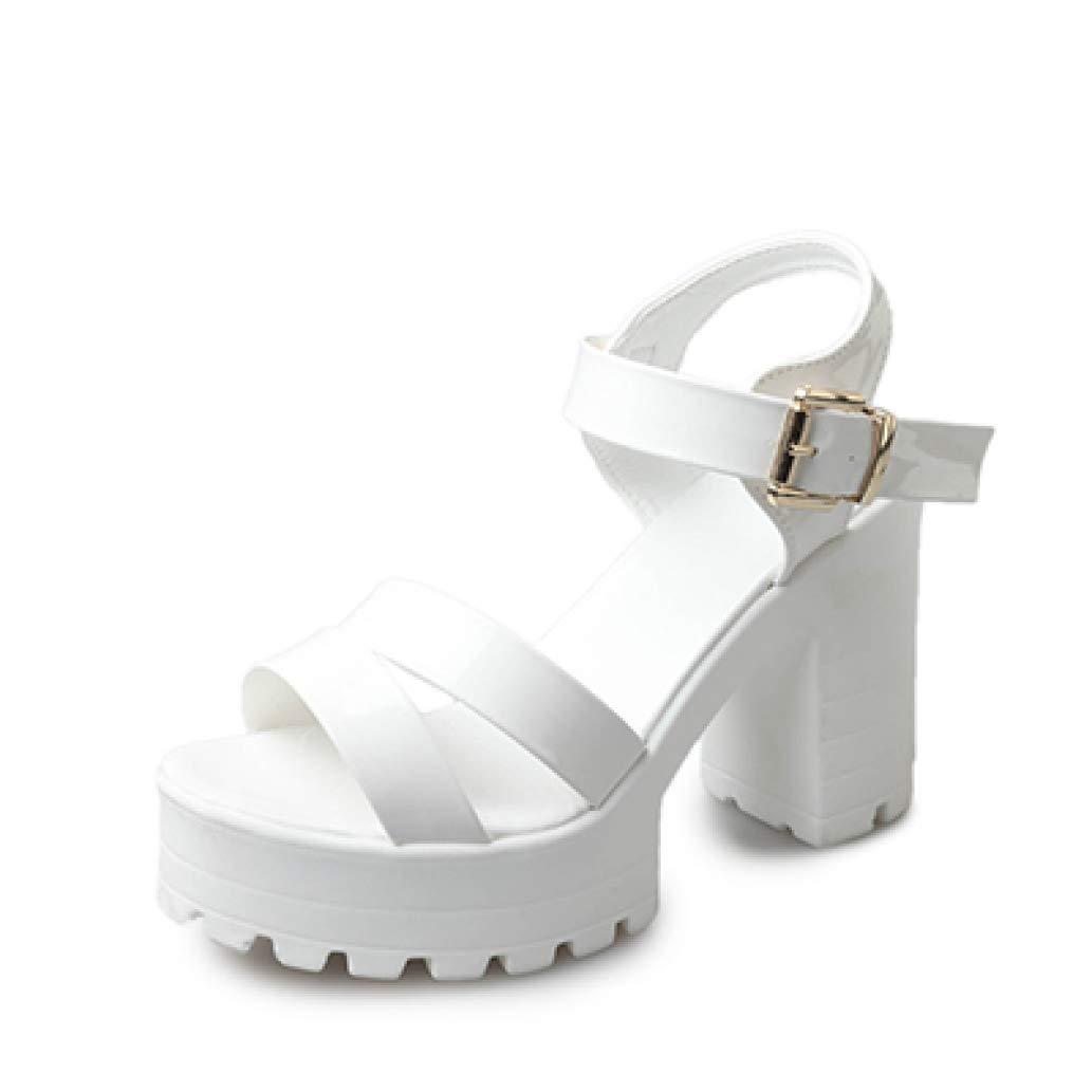 White MEIZOKEN Women's Ankle Strap Block Heeled Platform Sandal Open Toe Cutout High Chunky Heel Gladiator Sandals