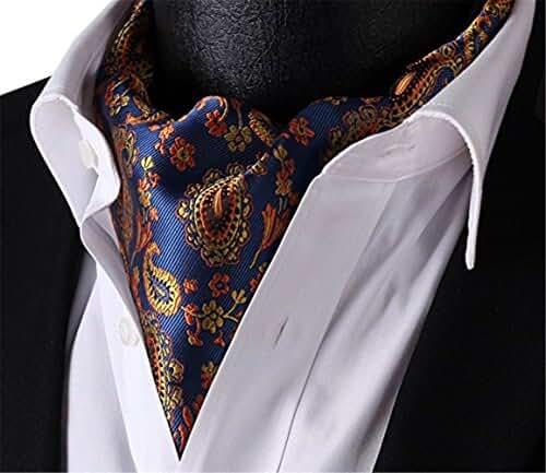 Allbebe Men's Blue Orange Floral 100% Silk Cravat Ties Jacquard Woven Ascot