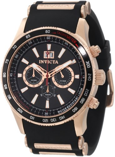 Crystal Accent Gold Tone Key - Invicta Men's 1238 Aviator Chronograph Black Dial Black Polyurethane Watch