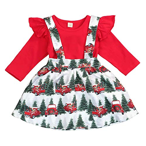 Toddler Kids Baby Girls Christmas Outfits Ruffle Top Christmas Tree Suspender Skirt Set 2PCS Clothes Set Winter (Red, 18-24 Months)
