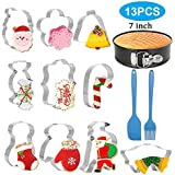 Holiday Cookie Cutters set with Springform pan, Silicone Basting Brushes and Pastry Spatula, Stainless Steel Cookie Mold Tools for Christmas Perfect for Making Holiday Cookies (13 PCS)