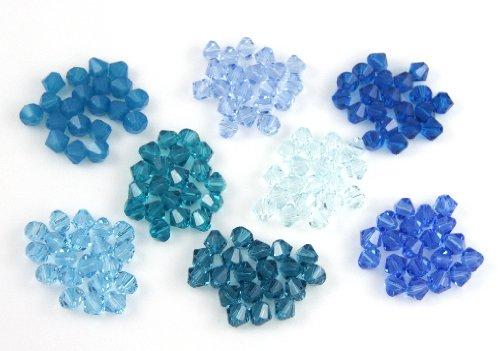 (Swarovski Bicone Mix 4mm 160 Beads - Blues)