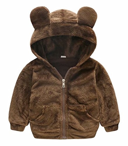 EGELEXY Toddler Baby Boy Girl Winter Zippered Fleece Jacket Cute Bear Style Hooded Coat Size 2-3 Years/Tag80 (Brown)