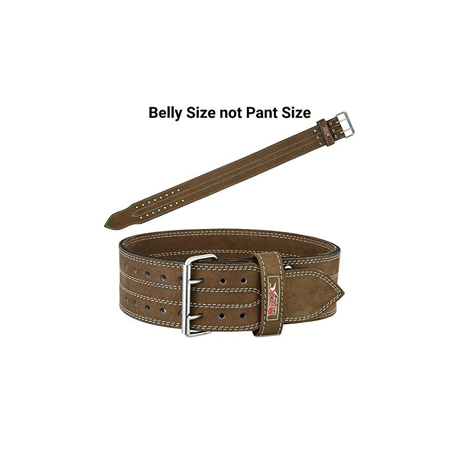 MRX BOXING & FITNESS MRX Power Lifting Leather Belt Gym Bodybuilding Training Fitness Back Support Belts with Steel Buckle