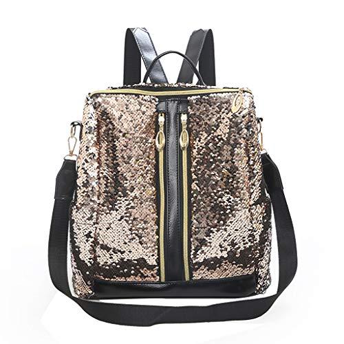 Moonite Sequin Large Capacity School Bag Shoulder Backpack Travel Portable Pack Zipper Bookbag for Women -
