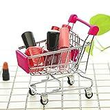 Iuhan MINI Shopping Cart Kids Toy Creative Desktop Shelves Puff Storage Rack Size: 12cmX9.5cmX5cm (Pink)