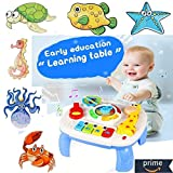 6 Puzzles + Portable Baby Toy Musical Learning Table Early Education Music Activity Center for Home Crib Stroller Car Travel