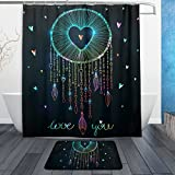 BAIHUISHOP Dream Catcher With Heart 3-Piece Bathroom Set, Machine Washable for Everyday Use,Includes 60x72 Inch Waterproof Shower Curtain, 12 Shower Hooks and 1 Non-slip Bathroom Rug Carpet - Set o