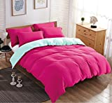 queen quilt solid pink - Duvet Cover Set,Pre-Washed Cotton Style Duvet Cover,Contrast 2 Tone Reversible Design,Zipper Closure,Queen Pink 90 by 90 inch On Promotion