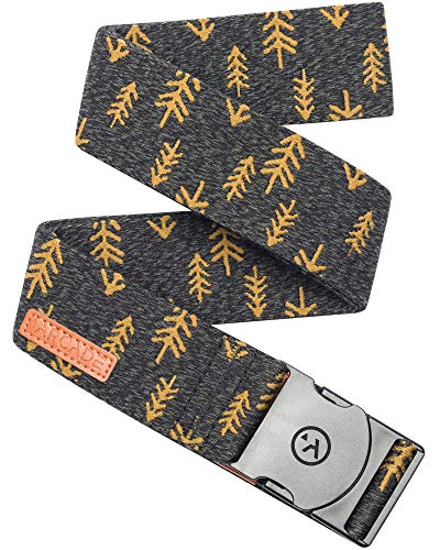 (Arcade Belt Mens Adventure Ranger Belts: Heavy Duty Elastic Webbing, Non-Metal Travel Friendly Buckle, Heather Green/Metal Brown)