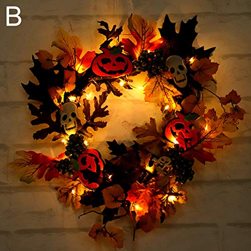 LVOERTUIG Halloween Trick or Treat Wreath, Halloween Wreath Decorations,Autumn Maple Leaf Berry Pumpkin Front Door Wreath Scary Led Wreath Lights Home Decor (Halloween B)