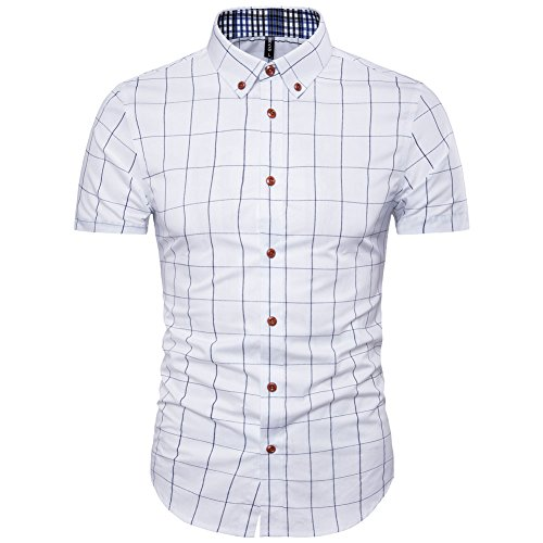 MUSE FATH Short Sleeve Shirt-Cotton Plaid Shirt-Easycare Short Sleeve Shirt-White-XL