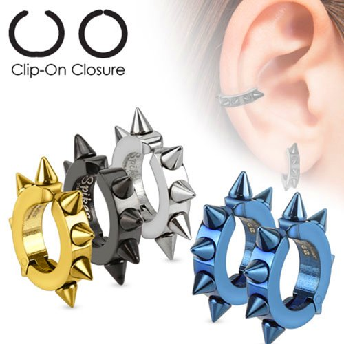 U2U Jewelry Mens Pair of 316L Surgical Stainless Steel IP Oval Hoop Non-Piercing Clip On Earrings with Spikes