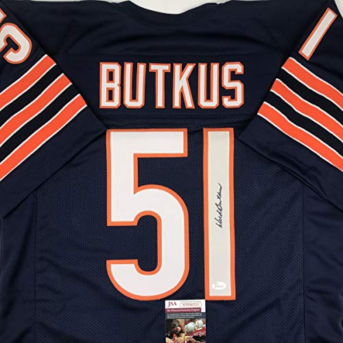 Autographed/Signed Dick Butkus Chicago Blue Football Jersey JSA COA