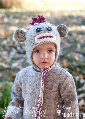Earflap Hat Knitting Pattern (Sock Monkey Hat Knitting Pattern - All Sizes Newborn through Adult Male)