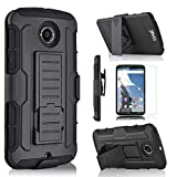 STAR Dual Layer Hybird Case with Kickstand, Locking Belt Swivel Clip and Screen Protector for Nexus 6 - Black