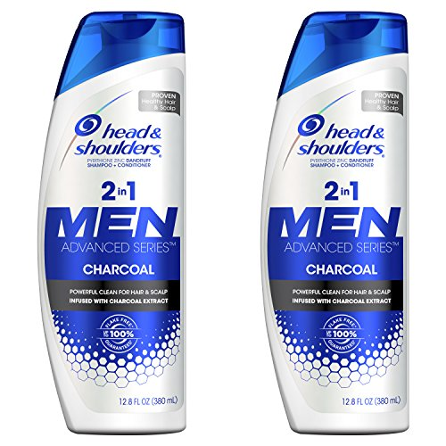& Citrus Shoulders Head Shampoo (Head and Shoulders, Shampoo and Conditioner 2 in 1, Anti Dandruff, Charcoal for Men, 12.8 fl oz, Twin Pack)