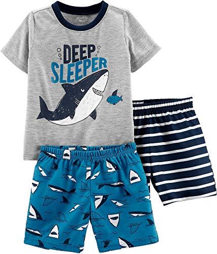 Carter's Toddler Boys 3-pc. Deep Sleeper Pajama Shorts Set 3T Grey/Blue/White
