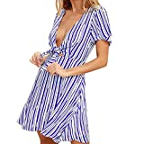 Womens Summer Dresses Casual Striped Dresses Deep V Neck Dress Mini Dress Party Dress Short Sleeve Beach Dress Blue