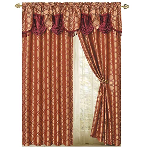 Valance Jacquard Curtain - DANCE WITH WIND. Jacquard window curtain panel drape with attached fancy valance. 2pcs set. Each pc 54