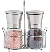 Salt and Pepper Shakers with Matching Stand – Salt and Pepper Grinders – Spice Grinder with…