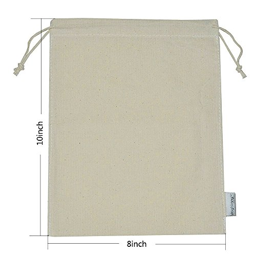 Augbunny 100% Cotton 8- by 10-Inch Muslin Bags with Drawstring, (Muslin Drawstring Bags)