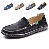 L-RUN Men's Cloth Shoes Slip-on Canvas Loafers Outdoor Leisure Walking (10 D(M) US, Black)