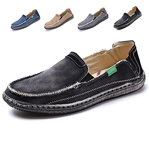 L-RUN Men's Cloth Shoes Slip-On Canvas Loafers Outdoor Leisure Walking (8.5 D(M) US, Black) (Men Shoes Canvas)
