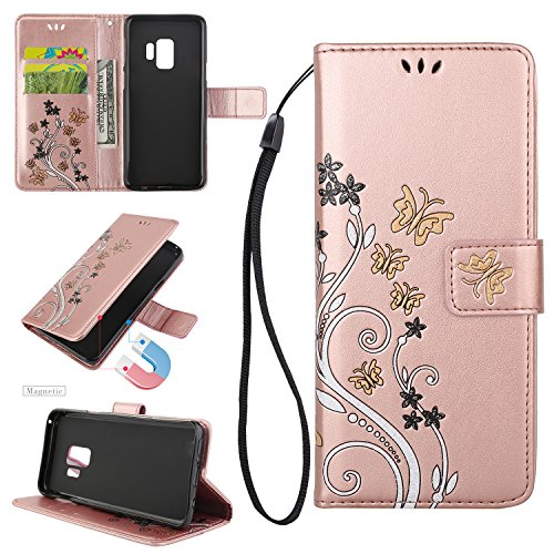 Urberry for Samsung Galaxy S9 Case, Fashion Flower Ultra Slim Layered Leather Flip Cover Women Wallet Case for Samsung Galaxy S9 (Rose)