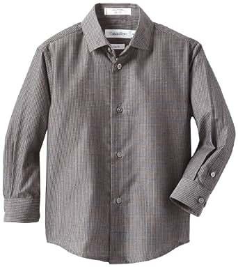 Calvin Klein Dress Up Little Boys' Iridescent Matrix Dresswear Shirt, Black, 4