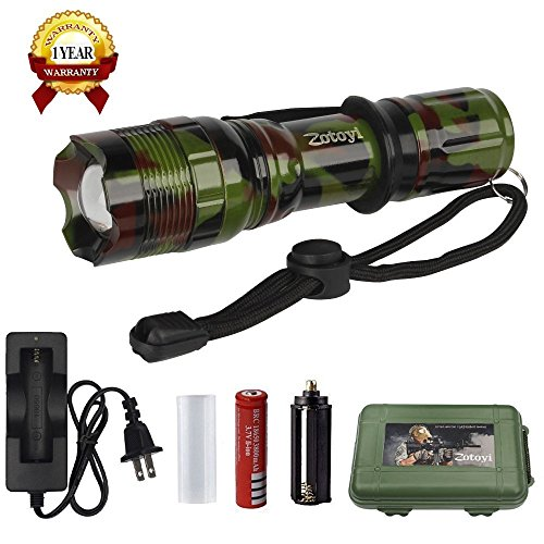 Super Bright LED Tactical Flashlight Zoomable Adjustable Focus 5 Modes Water Resistant Torch Light with Rechargeable 18650 Lithium Ion Battery and Charger for Camping Hiking Hunting Backpacking