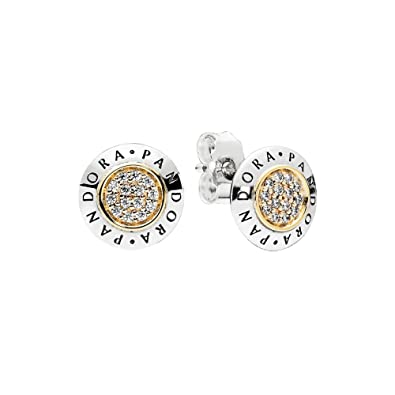 af3970807 Amazon.com: PANDORA Logo Stud Earrings in Sterling Silver with 14k Gold and  Clear Cubic Zirconia - 296230CZ: Jewelry