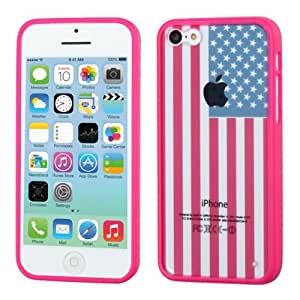 MyBat Glassy United States National Flag/Gummy Cover for Apple iPhone 5C - Retail Packaging - Hot Pink