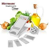 Westmark 103403 6 in 1 Adjustable Stainless Steel Blade Mandoline Slicer, White