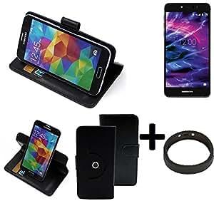 TOP SET: 360° Funda Smartphone para Medion X5020, negro + anillo protector | Función de stand Caso Monedero BookStyle mejor precio, mejor funcionamiento - K-S-Trade