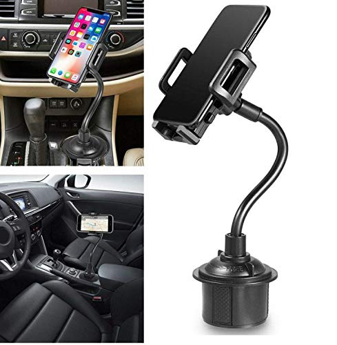 Universal Gps Cup Holder - Cup Holder Phone Mount, Portable Cup Phone Holder Car Mount with Universal Adjustable Gooseneck for iPhone Samsung Galaxy Google Pixel and More (Black)