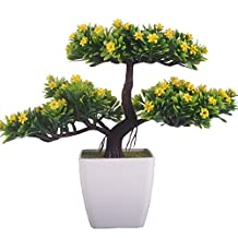 JAROWN Artificial Plant Pine Bonsai Tree Nearly Natural for Home Office Decoration (Yellow)