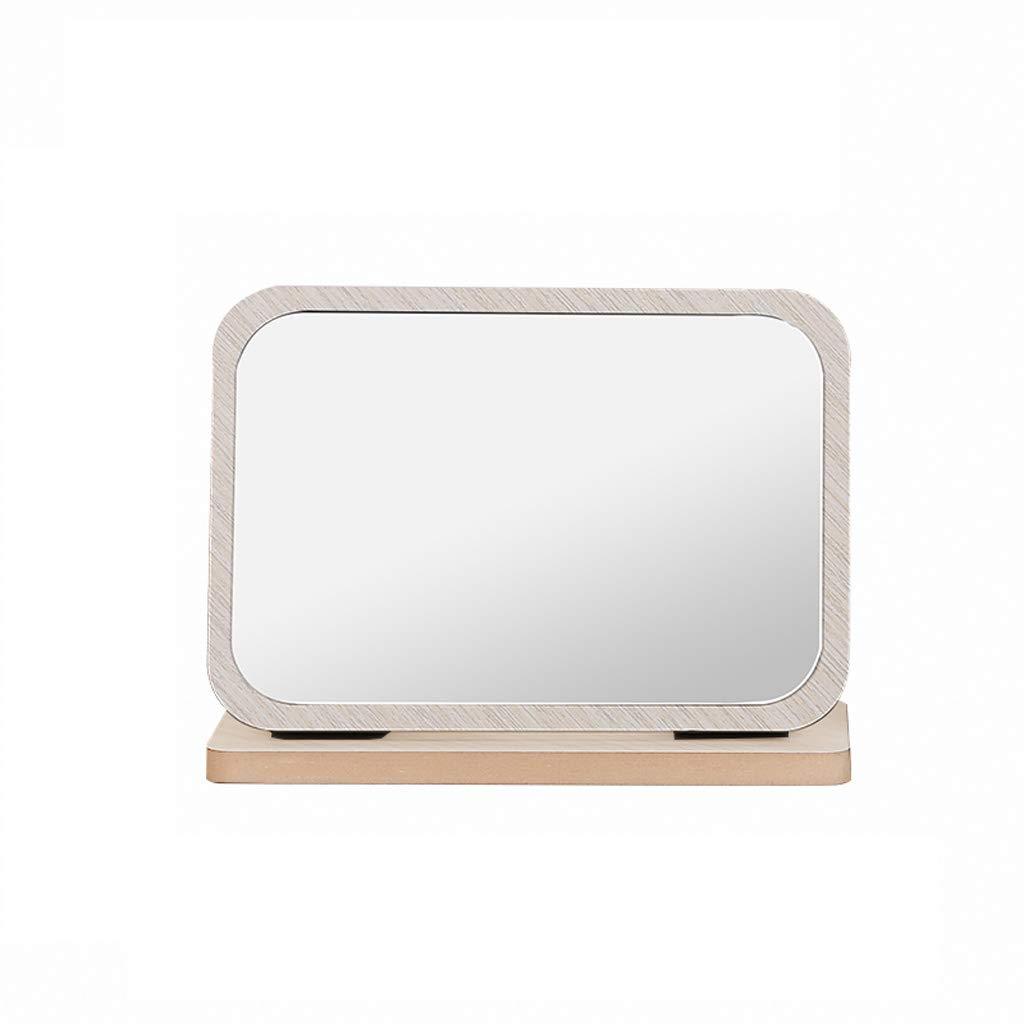 TLMYDD Wooden Cross Section Light Color Folding Desktop Vanity Mirror Student Desktop HD Mirror 23x17cm Cosmetic Mirror