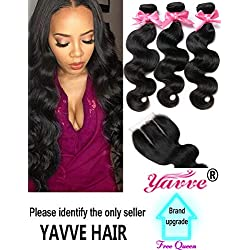 "Brazilian Virgin Hair 3 Bundles with Closure Brazilian Body Wave 8A 100% Unprocessed Human Hair bundles With Lace Closure Natural Black Color by YAVVE (12"" 14"" 16""+10""closure, Three Part)"