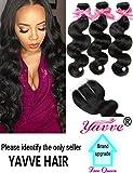 Brazilian Virgin Hair 3 Bundles with Closure Brazilian Body Wave 8A 100% Unprocessed Human Hair bundles With Lace Closure Natural Black Color by YAVVE (12'' 14'' 16''+10''closure, Three Part)